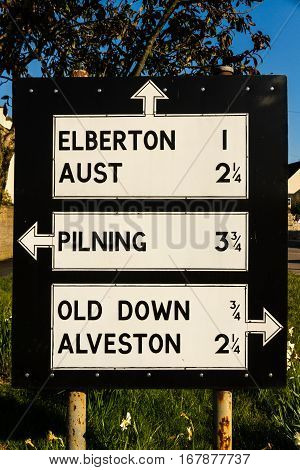 Pre-worboys Old Road Sign In Uk.