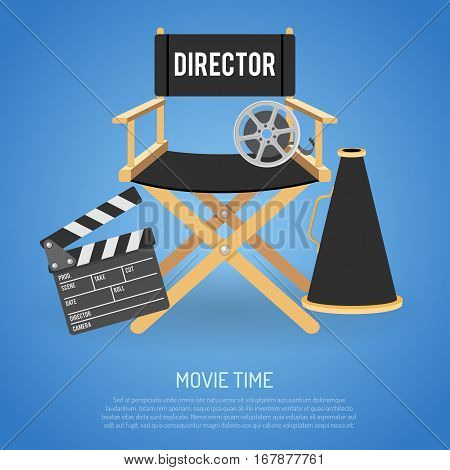 Cinema and Movie time flat icons with film reel, director chair, loudspeaker, clapperboard, isolated vector illustration