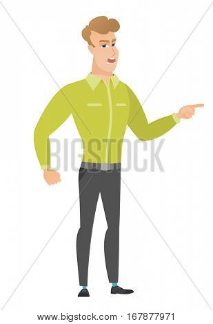 Furious businessman screaming and pointing his finger to the right. Full length of aggressive businessman screaming and shaking his finger. Vector flat design illustration isolated on white background