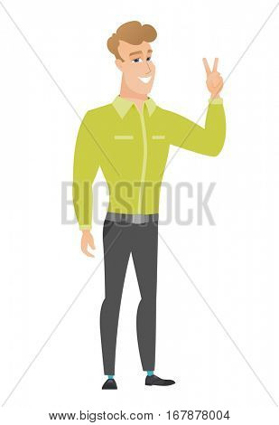 Caucasian businessman showing the victory gesture. Businessman showing the victory sign with two fingers. Businessman with victory gesture. Vector flat design illustration isolated on white background
