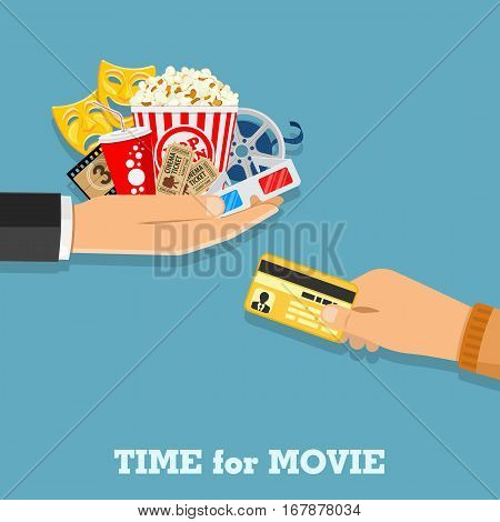 Cinema and Movie time concept with flat icons popcorn, masks, 3D glasses, tickets in hand and credit card, isolated vector illustration
