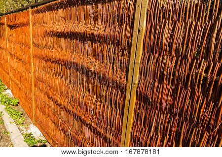 New wicker fence made with no nails.