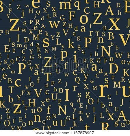 Vector seamless pattern with letters of the alphabet in random order on a dark background. Suitable for web backgrounds, textiles and wrapping paper.