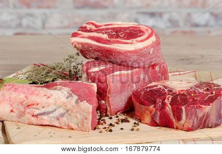 group of beef meat for French Pot-au-feu
