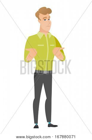 Confused caucasian businessman shrugging his shoulders. Full length of doubtful businessman gesturing hands and shrugging his shoulders. Vector flat design illustration isolated on white background.