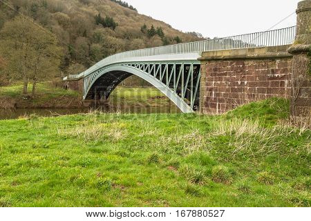 Bigsweir Bridge, Beautiful Single Span Iron Bridge Over The River Wye And The Border Between England