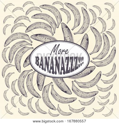 Illustration with bananas drawn by hand with colored pencil and with logotype in center. Drawing with crayons. Fresh tasty fruits painted from nature. Tinted black and white