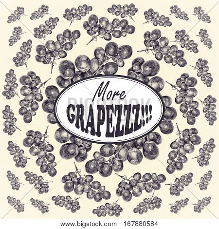 Illustration with grapes drawn by hand with colored pencil and with logotype in center. Drawing with crayons. Fresh tasty fruits and berries painted from nature. Tinted black and white
