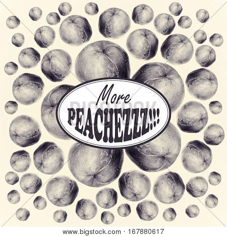 Illustration with peaches drawn by hand with colored pencil and with logotype in center. Drawing with crayons. Fresh tasty fruits painted from nature. Tinted black and white