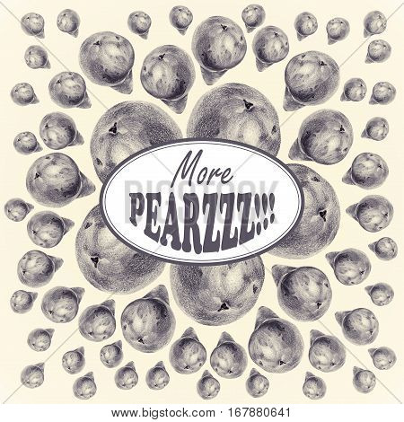 Illustration with pears drawn by hand with colored pencil and with logotype in center. Drawing with crayons. Fresh tasty fruits painted from nature. Tinted black and white