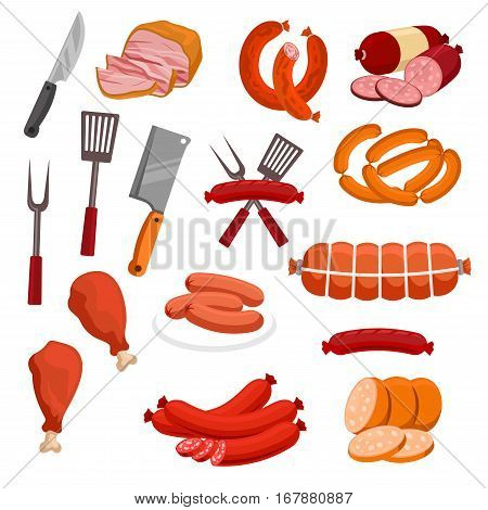 Meat and sausages vector icons. Butchery or butcher shop meat food products and delicatessen. Isolated grilled chicken legs and sliced pork bacon, beef ham and meaty wurst sausages, salami and smoked pepperoni with forks and knife hatchets