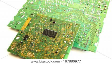 Electronic Boards And Chips In Macro Photo