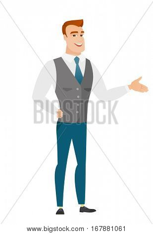 Businessman with arm out in a welcoming gesture. Full length of welcoming young caucasian businessman. Businessman doing a welcome gesture. Vector flat design illustration isolated on white background