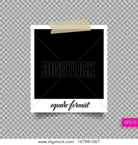 retro square polaroid photo frame template on sticky tape pin with shadow isolated on transparent background, vector illustration eps 10