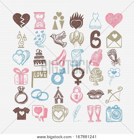 36 hand drawing doodle icon set about love to valentines day design, wedding sketchy vector illustration
