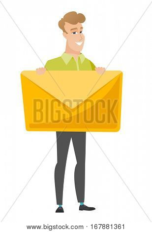 Caucasian business man holding a big envelope. Full length of business man holding a big envelope. Cheerful business man with big envelope. Vector flat design illustration isolated on white background