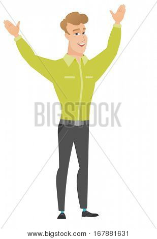 Successful caucasian businessman jumping with raised arms up. Full length of happy businessman jumping in the air and celebrating success. Vector flat design illustration isolated on white background.