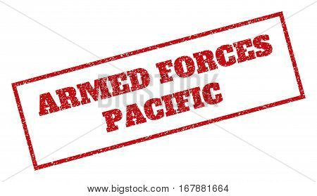 Red rubber seal stamp with Armed Forces Pacific text. Vector message inside rectangular shape. Grunge design and unclean texture for watermark labels. Inclined sticker.