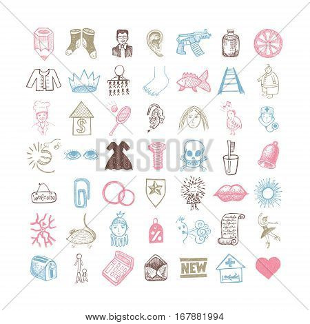 49 hand drawing doodle different icon set, sketchy vector illustration collection