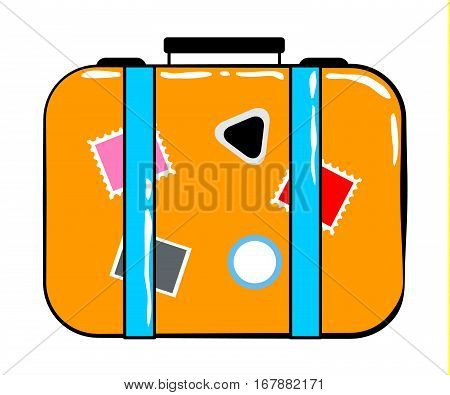 Valise cartoon sticker in retro style on white background vector illustration for travel theme