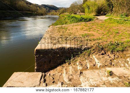 Old Quayside on the River Wye Brockweir Gloucestershire England United Kingdom.
