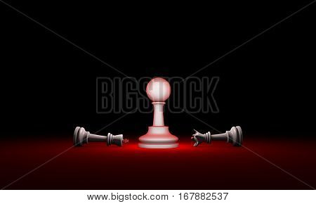 Horizontal chess composition. 3D render illustration. Black background layout with free text space.