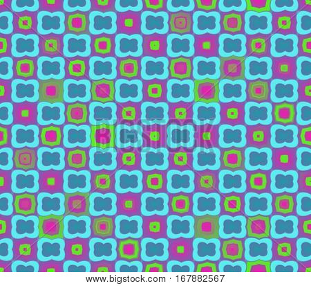 Abstract seamless pink background with light blue flowers stroke flowers pink and yellow squares with a pink and yellow stroke lined in rows to form a continuous pattern