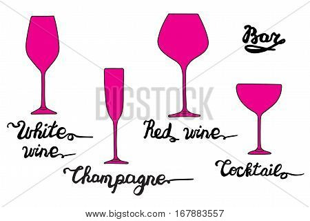White wine glass, Champagne glass, Cocktail glass, Red wine glass. Various types of glasses with hand drawn inscriptions. Vector bar set