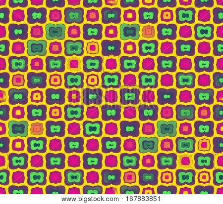 Abstract seamless yellow background of green color with a stroke, and yellow and pink squares with stroke lined in rows to form a continuous pattern