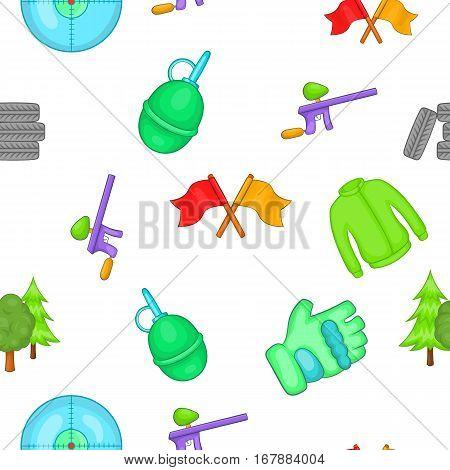 Outfit paintball pattern. Cartoon illustration of outfit paintball vector pattern for web