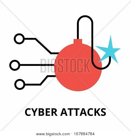 Modern flat design vector illustration cyber attacks icon for graphic and web design