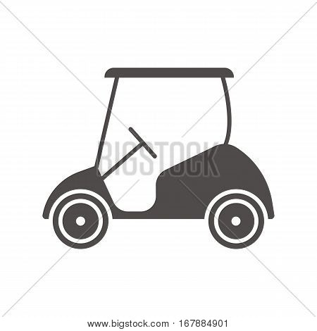 Golf cart icon. Silhouette symbol. Negative space. Vector isolated illustration