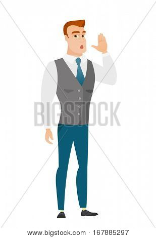 Caucasian business man lost and calling for help. Full length of business man calling for help. Business man in trouble calling for help. Vector flat design illustration isolated on white background.