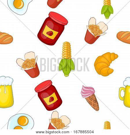 Junk food pattern. Cartoon illustration of junk food vector pattern for web