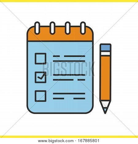 To do list with pencil color icon. Notebook with tick mark. Notepad. Isolated vector illustration
