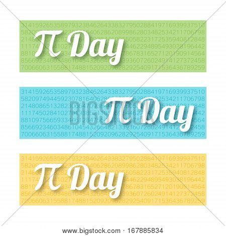 Set of colorful horizontal banners for Pi Day. Mathematical constant irrational complex number greek letter. Abstract digital illustration for March 14th. Modern creative template for web design
