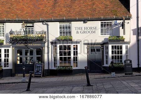 New Alresford, Uk - Jan 28 2017: The Horse & Groom Public House, Or Pub, A Georgian Building In Broa