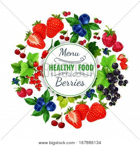 Berries menu. Vector poster with fresh garden berries strawberry, cherry, raspberry and blackberry, forest blueberry, black currant or redcurrant, of sweet and juicy gooseberry and briar fruit harvest design for fresh berry drinks or desserts