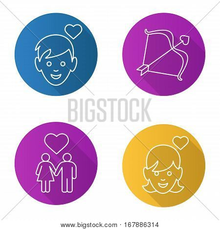 Valentine's Day flat linear long shadow icons set. Enamoured boy and girl, man and woman holding hands, Cupid's bow and arrow. Vector line illustration