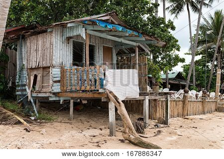 Concept Of Low-cost Budget Staying In Tropical Paradise