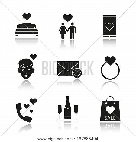 Valentine's Day drop shadow black icons set. Bed, family, smartphone dating app, boy, champagne, wedding ring with heart, romantic talk, shopping bag, love letter. Isolated vector illustrations