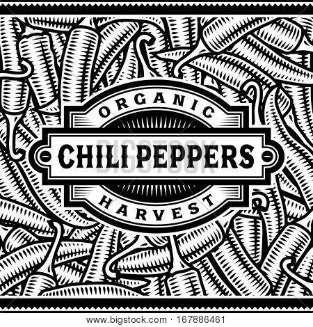 Retro Chili Pepper Harvest Label Black And White