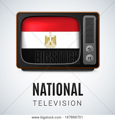 Vintage TV and Flag of Egypt as Symbol National Television. Button with Egyptian flag