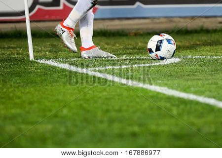 Closeup Of Soccer Ball And Feet Of The Player