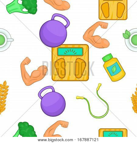 Healthy lifestyle pattern. Cartoon illustration of healthy lifestyle vector pattern for web