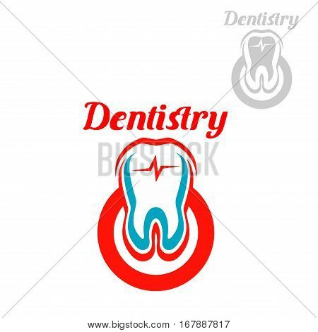 Dentistry emblem with vector symbols of white tooth with red circle and heart pulse. Isolated icon for dentist, stomatology clinic or dental surgeon. Sign of healthy tooth and gum for tooth paste or healthy product design