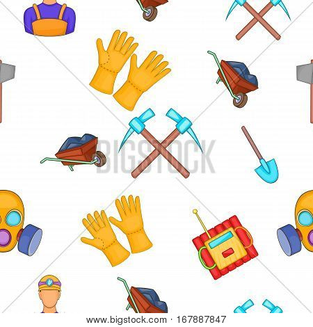 Coal mining pattern. Cartoon illustration of coal mining vector pattern for web