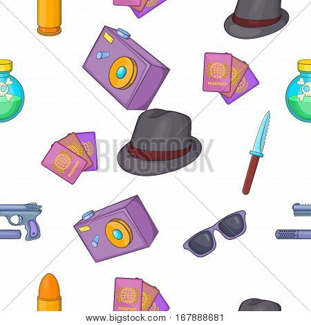 Detective pattern. Cartoon illustration of detective vector pattern for web