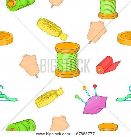 Sewing supplies pattern. Cartoon illustration of sewing supplies vector pattern for web