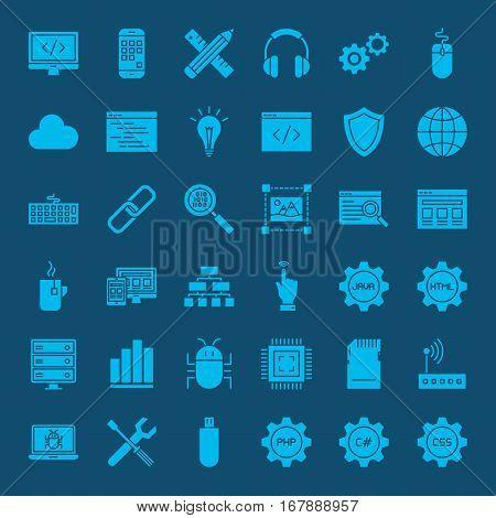 Coding Glyphs Website Icons. Vector Set of Modern Programming and Website Development Symbols.